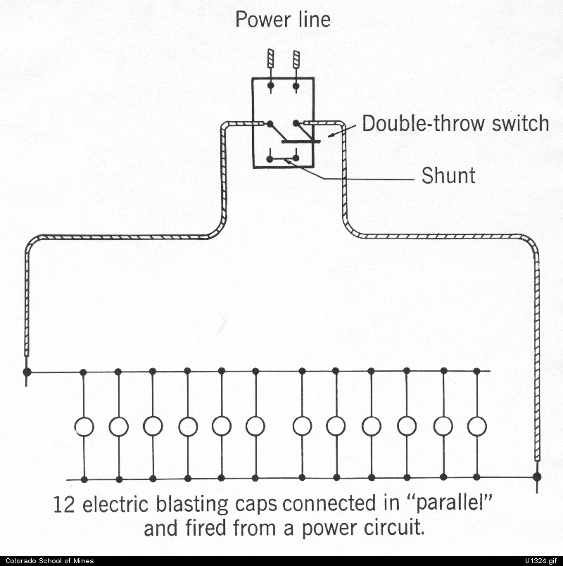 Diagram of electric blasting, parallel connections