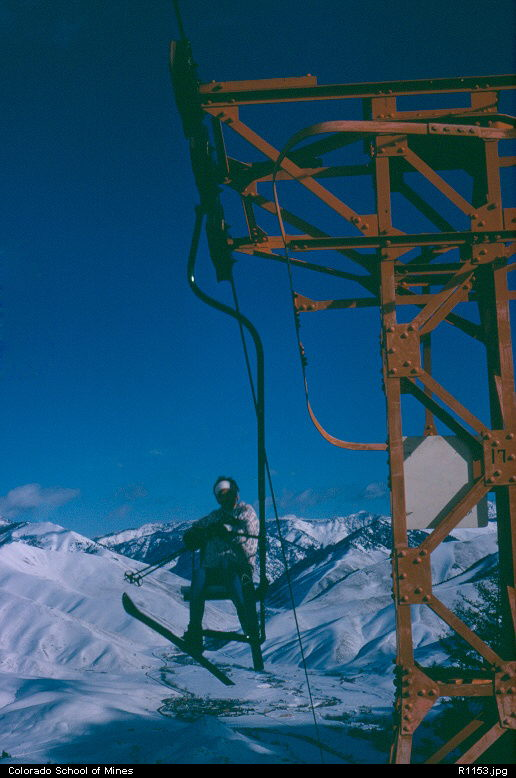 Person riding American Steel & Wire lift at Sun Valley, Idaho